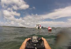 Participants in the challenge must first set a compass bearing in the direction they are headed to properly navigate underwater.