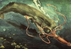 In this painting, a giant squid engages in a struggle for survival with a sperm whale.