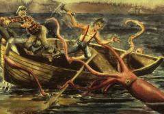 A giant squid attacks a boat in a painting.