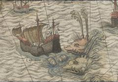 Two whales attack a ship on a map