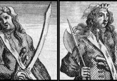 Pirates Ann Bonny and Mary Read shown in men's clothes