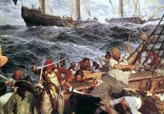 This painting of swarthy buccaneers in the midst of a fierce battle was painted by the prolific American marine painter Frederick J. Waugh, and won the Thomas B. Clarke award in 1910 for the best American figure composition.
