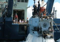 Alvin, a human occupied vehicle (HOV), returns to the ship after a dive.