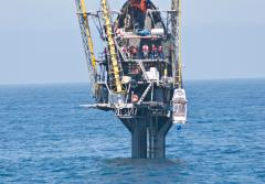 Scripps Institution of Oceanography's FLoating Instrument Platform, or FLIP, conducts sea trials off San Diego in May 2009.