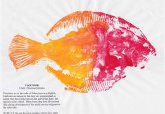 A red and yellow gyotaku-style fish print of a flounder