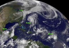 NOAA satellite image of four tropical storms in the Atlantic Ocean basin on 9/8/2011