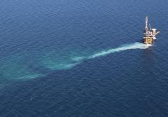 An oil drilling platform in oil-free water two years after the Deepwater Horizon oil spill in the Gulf of Mexico.