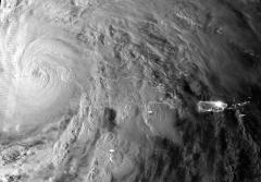 A satellite image of Hurricane Sandy as it passed over Cuba and Jamaica on October 25, 2012.