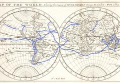 This map shows the route of Dampier's first voyage around the world.