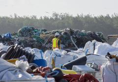 Piles of marine debris collected on Midway Atoll