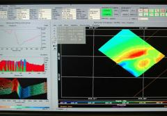 This computer screen image shows views of each sonar beam and the path being mapped by the ship.