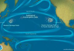"The currents of the North Pacific gyre collect trash—mostly bits of microscopic plastic—into what are known as ""garbage patches."""