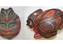 These rattles from British Columbia were used during shamanistic performances.