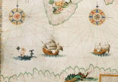 a mermaid illustration on an old map