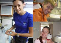 Staci DeSchryver, Jason Moeller, and Caitlin Fine, during their time in NOAA's Teacher at Sea Program