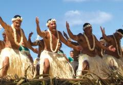 A large group of dancers from the island of Tokelau dance during fiafia, evening entertainment)