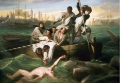 A painting of a shark attacking a man
