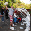 After collecting, cleaning and sorting the plastic, the community came back together to construct the whale ribcage.